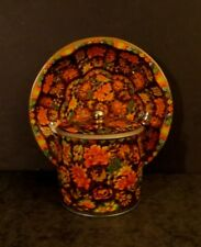 Vintage tin caddy & shallow dish autumn colorful leaves Daher England