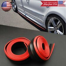 2 x 8FT Black Red Trim EZ Fit Bottom Line Side Skirt Extension For VW Porsche