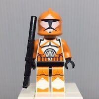 Bomb Squad Trooper Minifigure w// Hand Cannon 7913 Orange Marks LEGO Star Wars