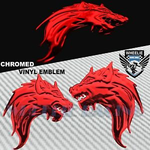 "PAIR 3"" X 2"" 3D ABS EMBLEM DECAL MOTORCYCLE FAIRING FENDER STICKER WOLF GANG RED"