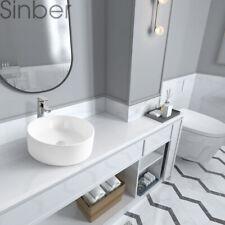 "Sinber 18"" x18"" Round Ceramic Bathroom Vanity Vessel Sink Above Counter Basin"