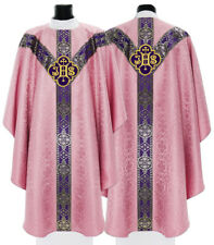 """Rose Semi Gothic Chasuble """"IHS"""" with matching stole GY209-R25 us"""