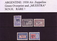 ARGENTINA Zeppelins 1930 with GREEN overprint in MNH Condition! SPECIMEN!| RARE!