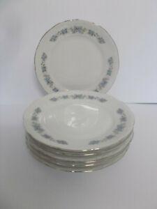 6 x Mitterteich China Side Plates Forget Me Not Floral Design 17cm Vintage