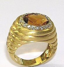 14 KT YELLOW GOLD LADY'S RING WITH 0.35 CT DIAMOND AND YELLOW TOPAZ