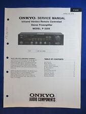 ONKYO P-3200 PREAMPLIFIER PREAMP SERVICE MANUAL ORIGINAL VERSION GOOD CONDITION