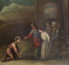 ABRAHAM BLOEMAERT cerchia GESU' INGINOCCHIATO del XVII sec.olio su tela cm 49x75