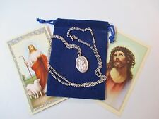 Jesus and Mary Saint Medal with 24 Inch Necklace, Ecce Homo