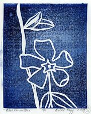 "1 Original lino print ""Blue Vinca"" from edition of  6"