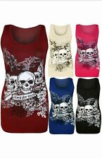 WOMENS LADIES FOREVER YOUNG SKULL PRINTED SLEEVELESS VEST TOP T SHIRT PLUS 8-22