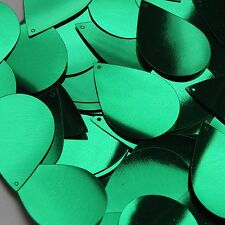 """Green Shiny Metallic Sequins Teardrop 1.5"""" Large Couture Paillettes"""