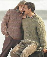 "Ladies and Mens Chunky Sweater Knitting Pattern Easy Knit 34-46"" 886"
