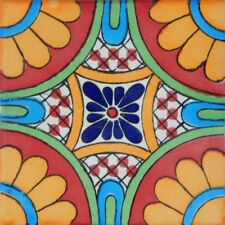 "One Handmade Mexican Tile Sample Talavera Clay 4"" x 4"" Tile C187"