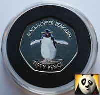 2017 FALKLAND ISLANDS 50p Fifty Pence Southern Rockhopper Penguin Coloured Coin