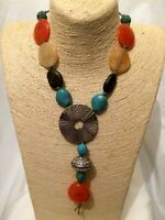 Womens Mens Statement Multi Coloured Colourful Bead Stone Rope String Necklace