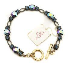 """Goldtone Crystal Station 6.5"""" Toggle Bracelet"""