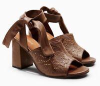 NEXT Women's Tan Tool Stud Embossed Leather Heeled Sandals UK 6 / EU 39 rrp £50
