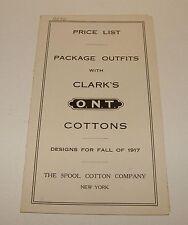 ORIG 1917 CLARK'S O.N.T. - THE SPOOL COTTON COMPANY - BROOKLYN NY - PRICE LIST