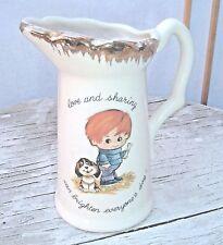 Love & sharing can brighten everyone's day Creamer / Pitcher Boy & dog Vintage