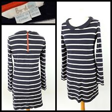 Boden Size 10 Navy Blue White Stripe Long Sleeve Dress Peter Pan Collar Winter