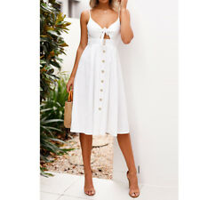 Women Strappy Button Bowknot Lace Up Ladies Summer Beach Midi Swing Dress Sexy