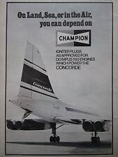 1969 PUB CHAMPION IGNITER PLUG CONCORDE 001 SNECMA ROLLS OLYMPUS 593 ENGINE AD