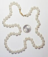 """Vintage White Glass Pearl Strand Necklace, 25"""" Hand Knotted, 8.4mm, Barrel Clasp"""