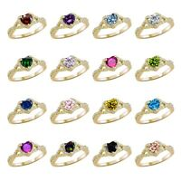 Heart Cut Promise Infinity Celtic Birthstone Yellow Gold Sterling Silver Ring