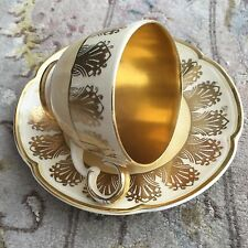 """Rare And Generously Gold Gilded 1930s Fielding's """"Crown Devon"""" Cup & Saucer"""