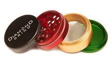 "CLASSIC DIAMOND GRIND 2.25"" Aluminum 4 piece herb Grinder w/screen 56mm RASTA"