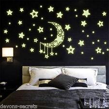 Wall decal stickers enfants filles garçons étoile lune nuit glow in dark playroom DC32
