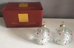 "LENOX Crystal Christmas Ornament Balls Salt & Pepper Shakers 2.5"" Tall NEW"