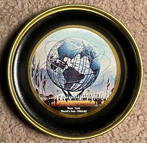 "4"" NEW YORK WORLD'S FAIR 1964-65 SOUVENIR TIN TRAY/DISH UNISPHERE US STEEL PEACE"