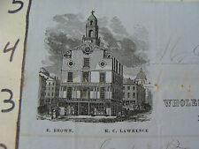 Original Vintage BILLHEAD: 1853 Brown & Lawrence clothing warehouse