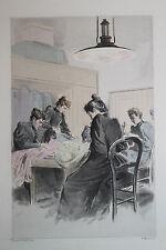 Eau-forte aquarelle pochoir La Femme à Paris Pierre Vidal Fred. Massé Uzanne 14