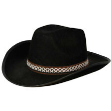 Black Cowboy Hat With Decorative Band Outfit Accessory for Wild West Fancy Dress