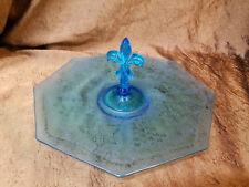 "Fostoria ""Grape Brocade"" Blue Teal Fleur de Lis Blue Handled Plate c:1927-29"