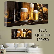 QUADRI MODERNI TELA 100X50 BIRRA PUB BAR BIRRERIA ARREDO PERONI BECKS TENNENTS