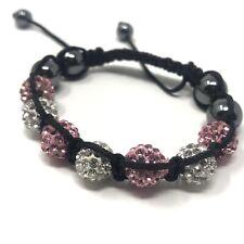 Crystal Shamballa style Bracelet 7x Pink 8 Silver Balls 4x Graphite grey Hematie