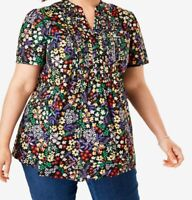 Woman Within blouse shirt top plus size 16/18 24/26 32/34 black mustard floral