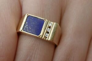 Vintage Men's 14K Yellow Gold  Lapis & Diamond Ring - Size 9.5 - 0.06 TCW