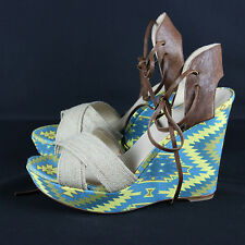 Theodora & Callum by Stuart Weitzman Wedges Size 9 Blue and Yellow Sandals Heels