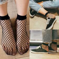 Fashion Women Ruffle Fishnet Ankle Socks Mesh Lace Fish Net Short Socks Black B