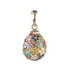 Faberge Egg Pendant / Charm with flowers 0.8'' #2-1822-20  00004000