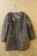 Ann Taylor Grey Fuzzy jacket With Pockets and Buttons Petite XL MSRP $248__R2D1
