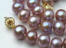 "8-9mm Purple Akoya Cultured Pearl Necklace+earring 18""AAA"