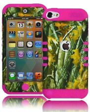 Hot Pink Silicone Cover+Brushy Camo Hybrid Case for iPod Touch 5, 5th Generation