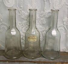 Set of 3 Antique Glass Barber Shop Stand Bottles