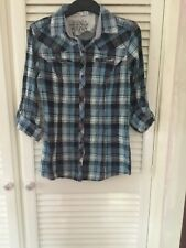 Ladies Primark Blue Checked Shirt UK Size 10