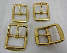 """Lot 4 Solid Brass Square Buckles 1 1/4"""" Horse Tack Halter Hardware Belts Straps"""